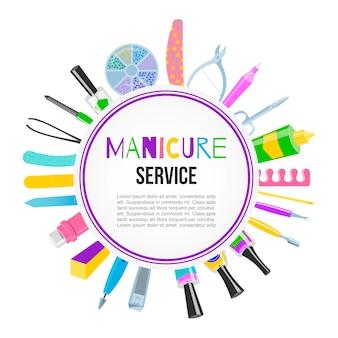 Manicura, pedicura, herramientas, esmalte de uñas, tijeras, esmalte, crema, vista de laca. letras de manicura. estudio de uñas, banner de salón.