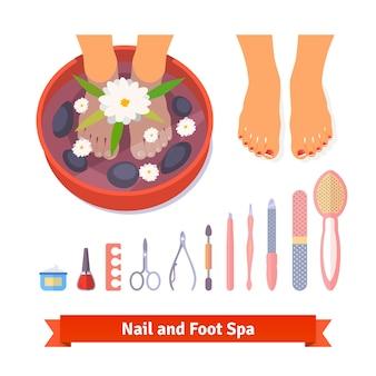 Manicura pedicura pie spa cuidado de belleza conjunto