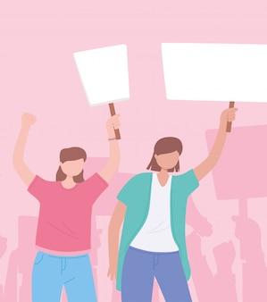 Manifestación de activistas de protesta, mujeres jóvenes con pancarta mensaje revolución