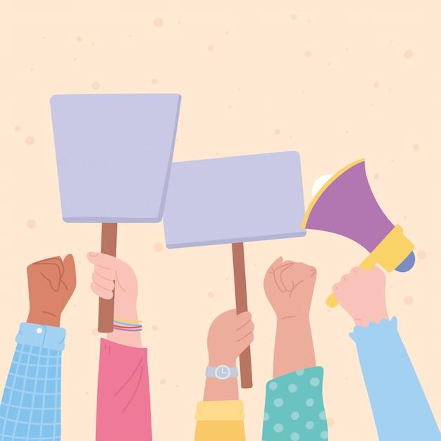 Manifestación de activistas de protesta, piquete de demostración de manos levantadas con megáfono y letreros