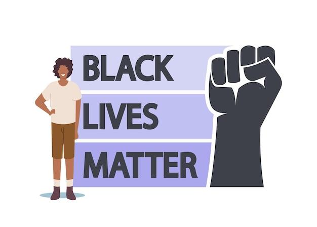 Manifestante africano antirracista con signo de materia de vidas negras con la mano levantada. protesta contra la discriminación racial