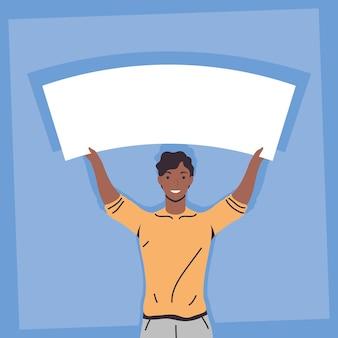 Manifestante masculino afro con pancarta en blanco