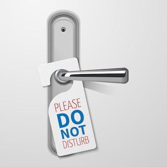 Manija de puerta metálica con no molestar vector blanco negro