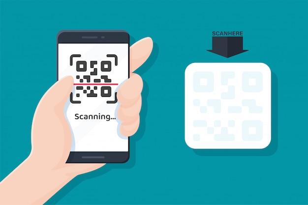 Manija del teléfono móvil escaneando el código qr para el pago y enlace al sitio web.