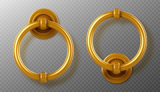 Manijas de aldaba de puerta de oro realista, perillas de anillo de oro, pomo de puerta de metal vintage brillante, elemento para diseño interior o exterior aislado, ilustración vectorial 3d, icono, clipart
