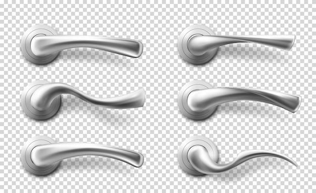 Manijas de palanca de puerta de metal realista de vector