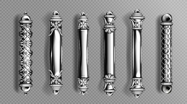 Manijas de puerta plateadas en estilo barroco, perillas de columna orientales lujosas ornamentadas clásicas aisladas en espacio transparente