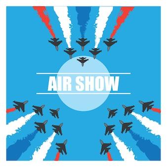 Maniobras de un avión de combate en el cielo azul para la bandera de espectáculo aéreo. ilustración vectorial