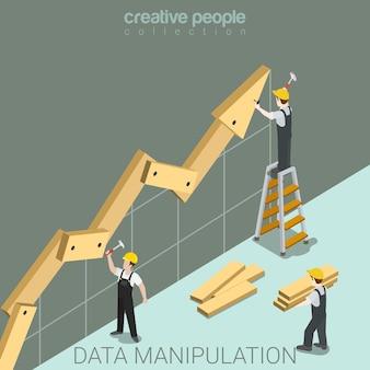Manipulación de datos plana isométrica.