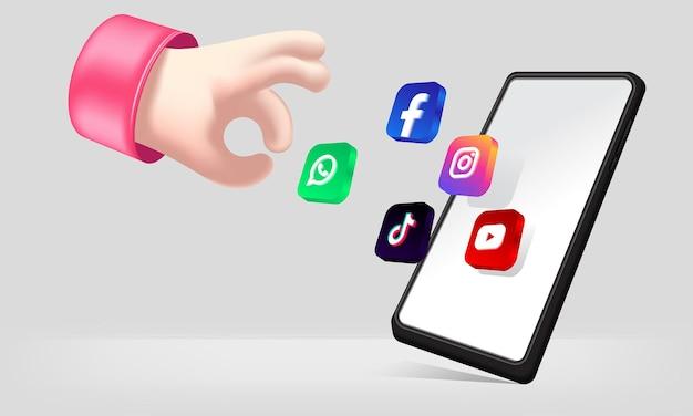 Mano 3d realista y icono de redes sociales