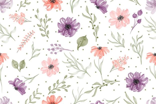 Mano acuarela dibujada de patrones sin fisuras acuarela flor