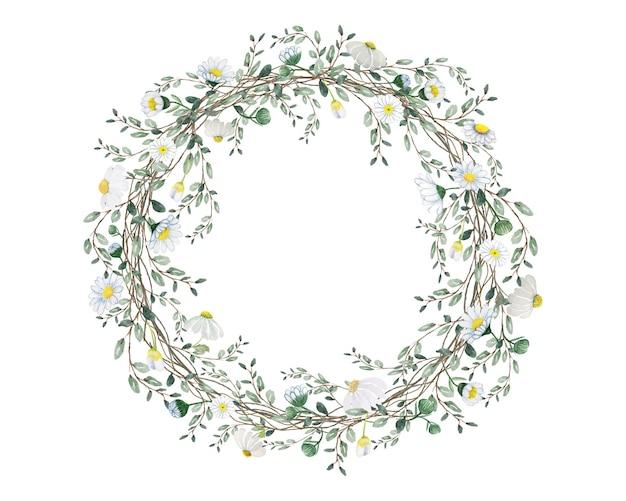 Mano acuarela dibujar flor con corona de hojas verdes