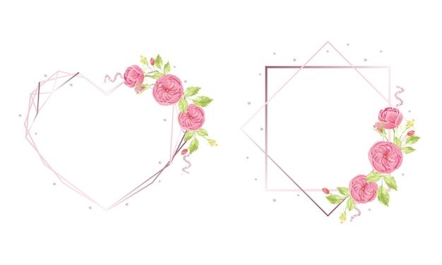 Mano de acuarela dibujar rosa corona de rosas inglesas con colección de marcos geométricos