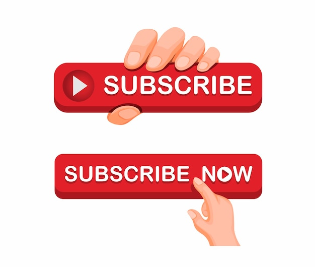 Mano agarre el icono del botón de suscripción para el concepto de conjunto de iconos de canal de transmisión de video en línea en la ilustración de dibujos animados