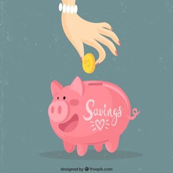 Mano ahorrando dinero en la hucha cerdito con diseño plano