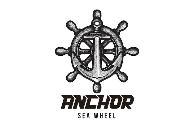 Mano amanecer ancla vector logo icono náutico marítimo mar océano barco ilustración símbolo diseños inspiración aislada sobre fondo blanco