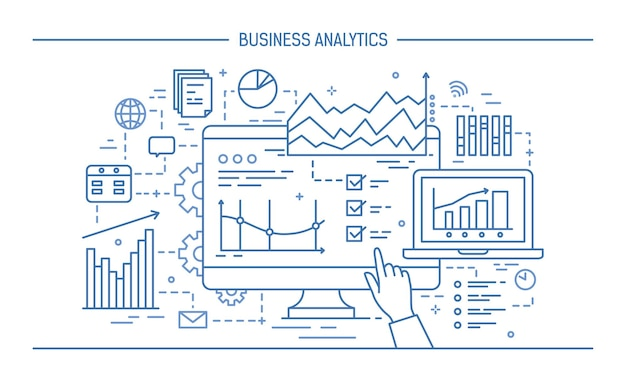 Mano apuntando a la pantalla de la computadora o pantalla con varios diagramas, tablas y gráficos. concepto de análisis de datos estadísticos y analítica empresarial. ilustración de vector monocromo en estilo de arte de línea.