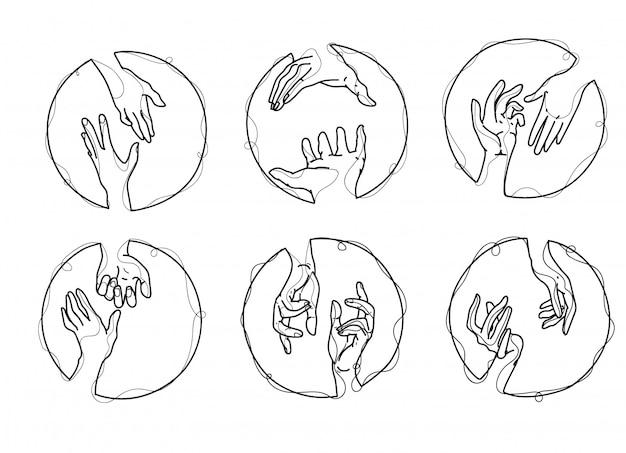 La mano del arte del tatuaje fijó con la ilustración del arte de línea aislada