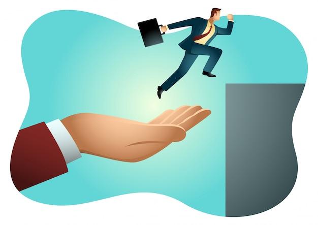 Mano ayudando a un empresario a saltar más alto