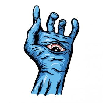 Mano azul con la ilustración del ojo