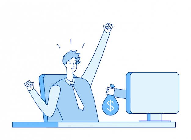 Mano con bolsa de dinero saliendo de la pantalla de la computadora
