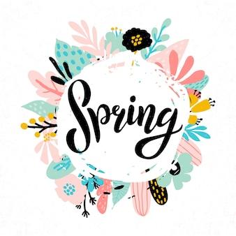 Mano bosquejó el texto de primavera como logotipo, insignia e icono. postal, tarjeta, invitación, volante, plantilla de banner. primavera de tipografía de letras enmarcada con hojas abstractas en colores pastel y ramitas, flores. felices fiestas