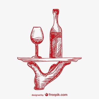 Mano de camarero sirviendo bebidas
