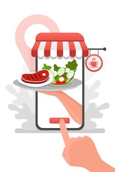 Mano de camarero desde el teléfono con comida de entrega de restaurante de dibujos animados plana. servicio de comida en restaurante