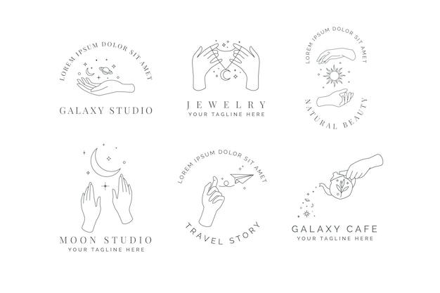 Mano celestial, magia, sol, luna, estrella y planeta elegante logo minimalista