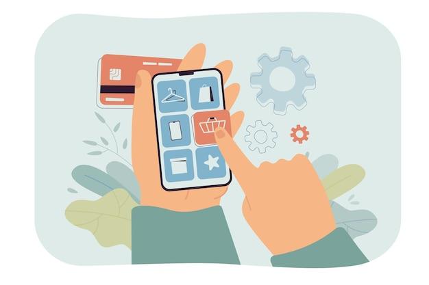 Mano del cliente sosteniendo el teléfono inteligente y haciendo la compra en la aplicación. hombre que elige la categoría de producto en la tienda o servicio en línea y realiza el pago ilustración plana