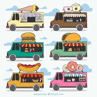 A mano la colección de camiones de comida de color dibujado