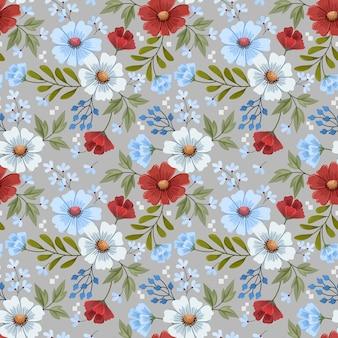 Mano colorida dibujar flores diseño de patrones sin fisuras para papel de envoltura de papel tapiz textil de tela.