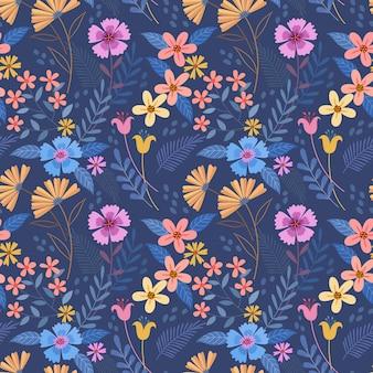 Mano colorida dibujar flores en patrón transparente de color azul para papel tapiz textil tela.