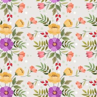 Mano colorida dibujar flores de patrones sin fisuras para papel tapiz textil tela.