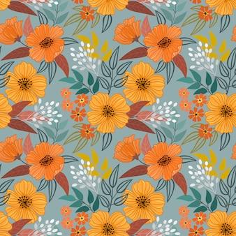 Mano colorida dibujar flores de patrones sin fisuras