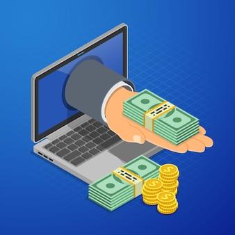 Mano de computadora portátil con dinero. ingresos de internet, ganancias de onilne, ingresos del concepto de juego.
