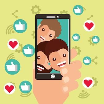 Mano con el contenido viral de teléfonos inteligentes personas ven seguidores