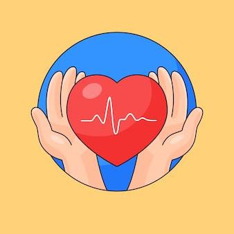 Mano cuida el latido del corazón ilustración de estilo de dibujos animados de contorno saludable