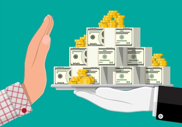 Mano dando dinero a otra mano. bandeja llena de billetes de dólar, monedas de oro. salarios ocultos, pagos negros de salarios, evasión de impuestos, sobornos. concepto de lucha contra la corrupción.