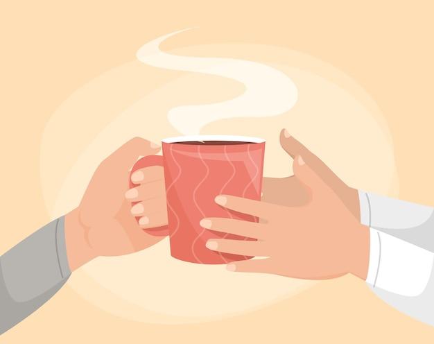 Mano dando taza de café ilustración