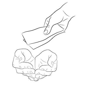 Mano, dando y tomando billetes de dinero de ilustración vectorial monocromo
