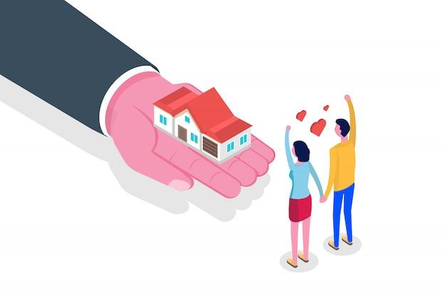Mano dar casa. concepto isométrico inmobiliario. ilustración.