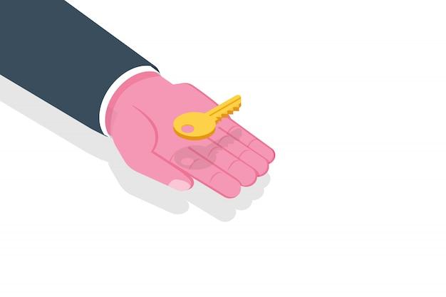 Mano dar clave. concepto isométrico inmobiliario. ilustración.