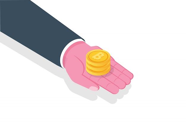 Mano dar dinero, bitcoin. concepto isométrico de caridad. ilustración.
