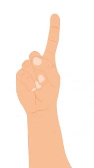 Mano con un dedo hacia arriba sobre fondo blanco vector