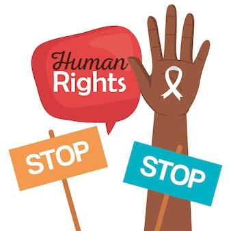 Mano de derechos humanos con cinta y diseño de pancartas de parada, protesta de manifestación y tema de demostración