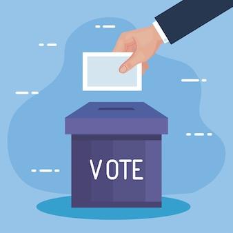 Mano del día de las elecciones con diseño de caja y papel de votación, tema de campaña y gobierno del presidente