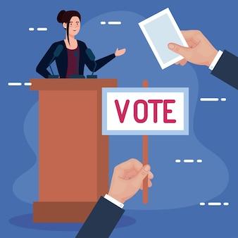 Mano del día de las elecciones que sostiene el cartel de voto y la mujer en el diseño del podio, el gobierno del presidente y el tema de la campaña
