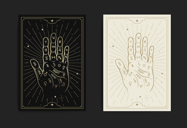 Mano con diagrama de quiromancia con grabado, handrawn, lujo, esotérico, estilo boho, apto para paranormal, lector de tarot, adivino, astrólogo o tatuaje