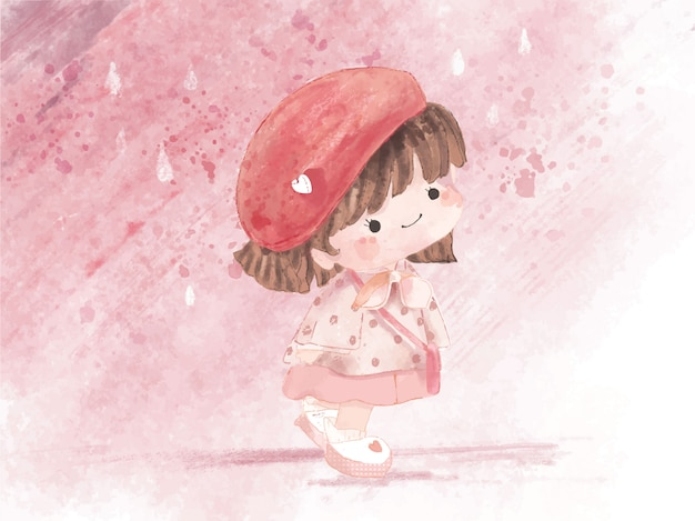 Mano dibuja acuarela linda chica en tema de invierno. ilustración vectorial